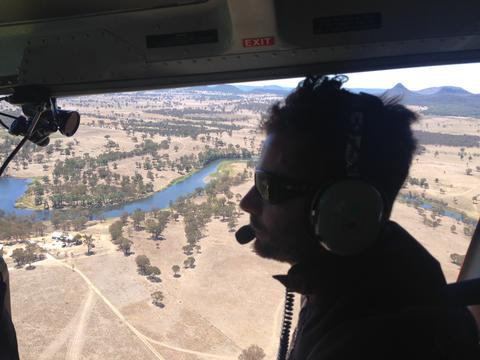 Directing a heli shoot over the Australian outback for a BBC2 documentary.