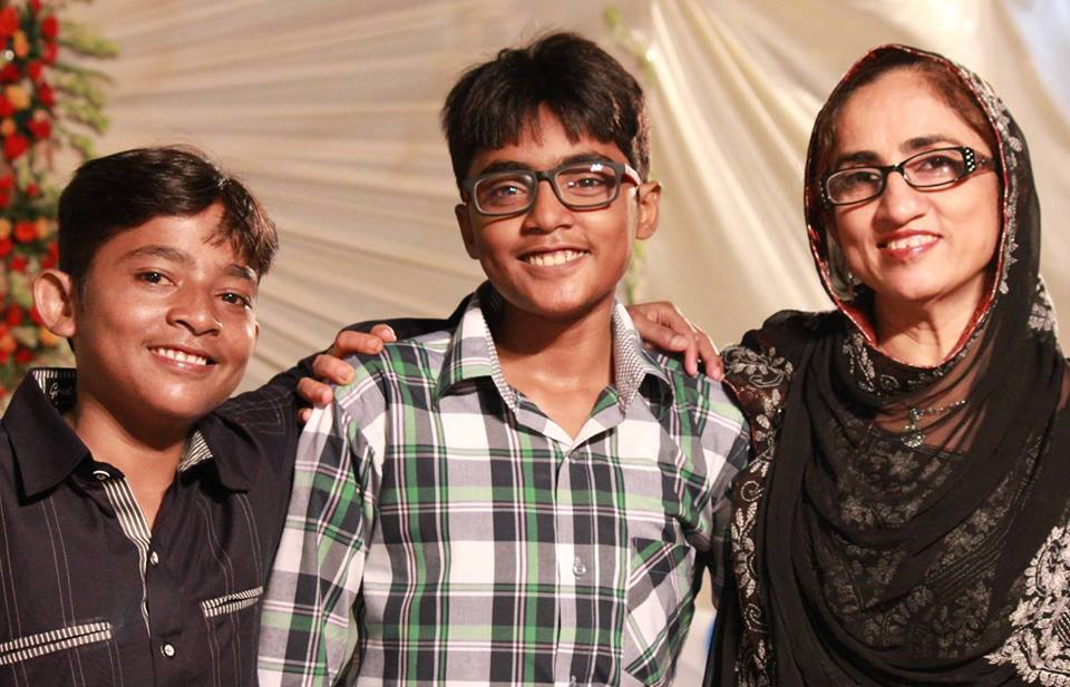 Zaid Rao with his brother and mother Shaheen Rao.