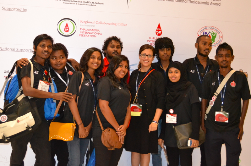 Jo meeting the Maldivian Thalassemia Society for the first time in 2013.