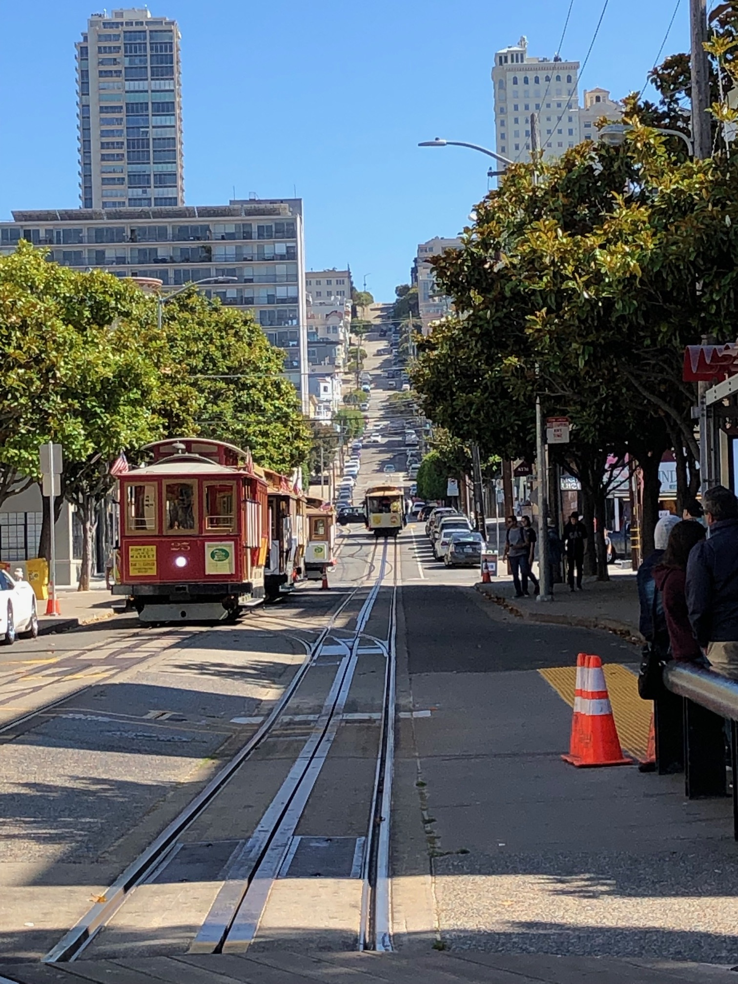 A look down the road when the trolley was on its way.