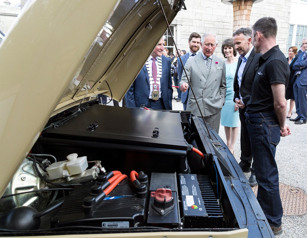 Prince Charles checks out converted Electrifi Land Rover