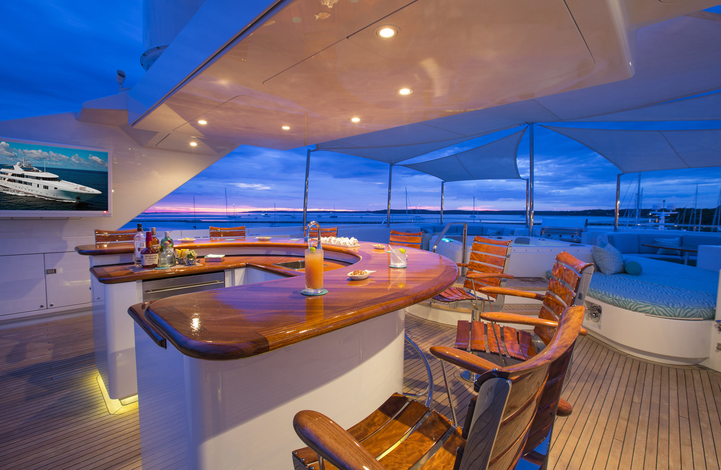 Interiors and details onboard Rhino, 154' Admiral motoryacht in Sag Harbor, NY.