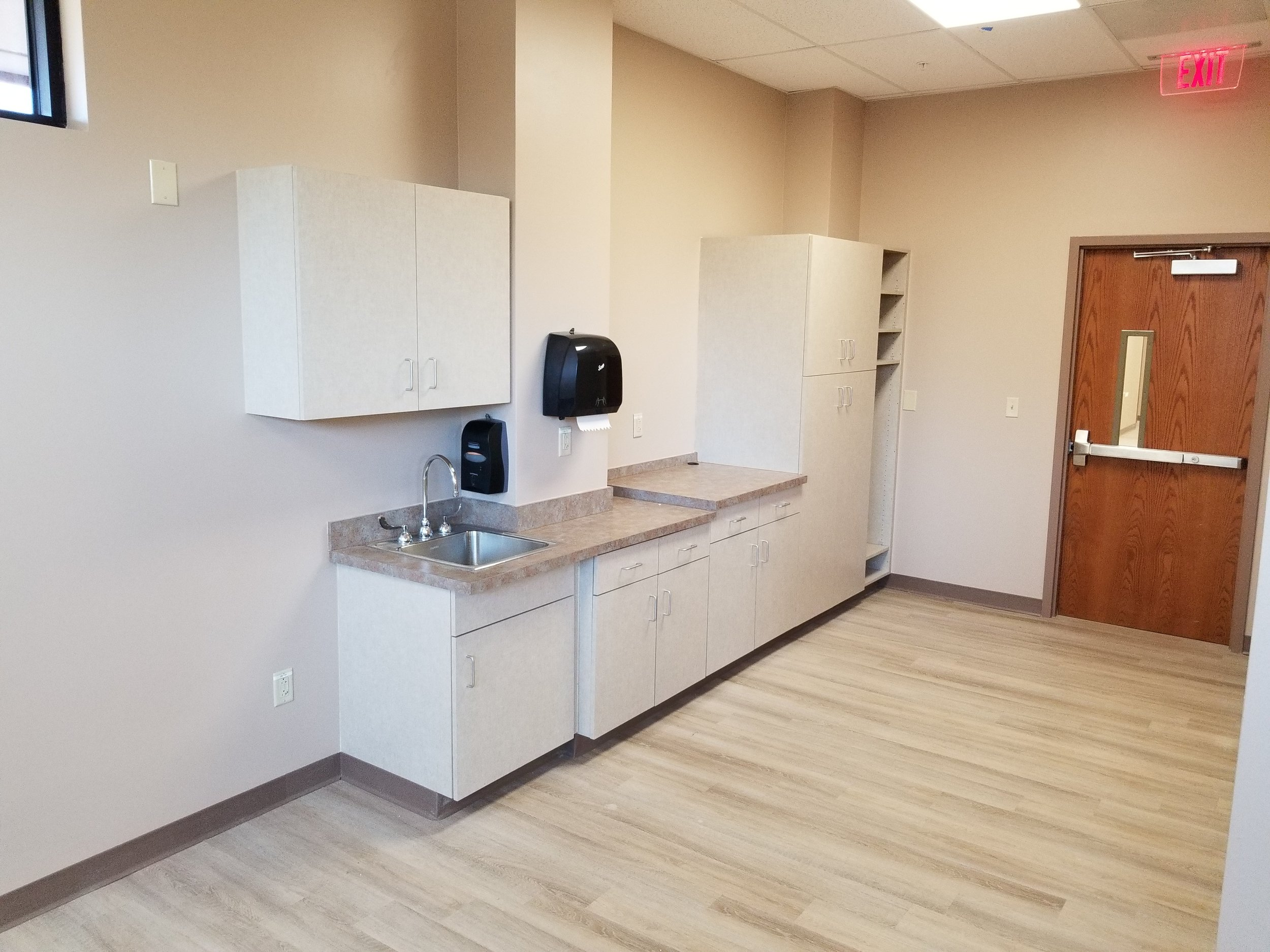 New Triage Room, with New Cabinetry, Sinks, Flooring