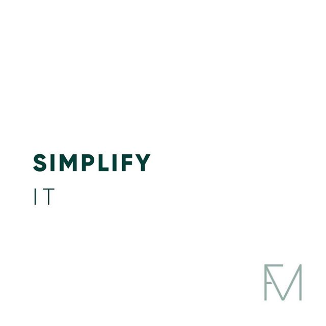 S I M P L I F Y | I T  I see it every day with my clients. Over complicating.  But I'll hold my hands up, 🙋🏻♀️ I do it. We all do.  But how exhausting is it!! We make things so much more difficult for ourselves, in our goals, our relationships, our work, our social life. We overthink, we over analyse, we over react, over plan, over do. We get emotional, get tired, get anxious. We worry about too much, most of which is out of our control, most of which doesn't matter.  So simplify it all.  Lose some of that stress, that pain, that complication. Get to the core of what you want, what actually is important, what really does need you time, your energy and focus on that.  SIMPLIFY!  #simplifyit #simplification #energy #wellbeing #coach #lifecoach #goals