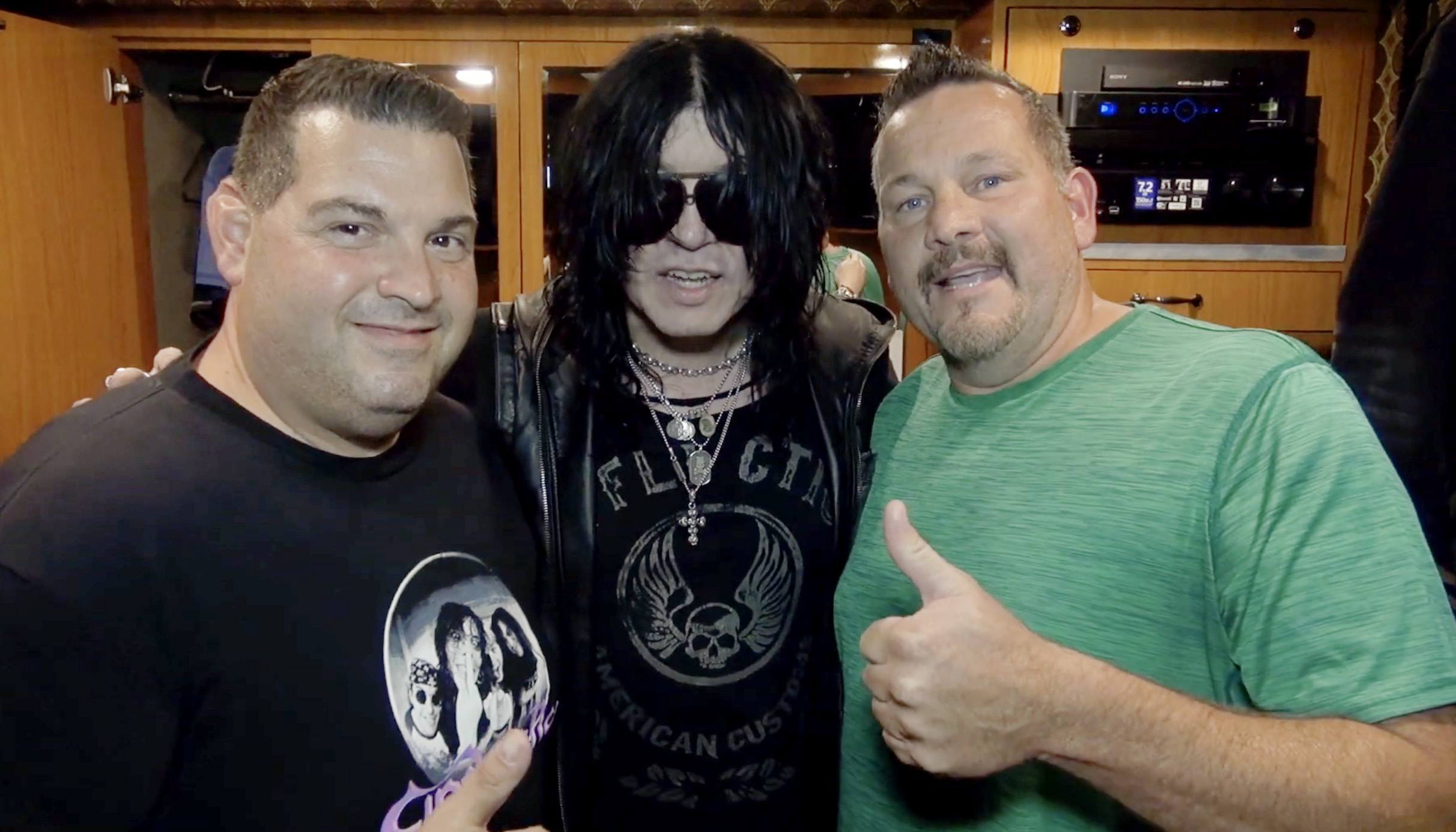 """actors -RObert Ruvolo """"CReeper"""" and Troy Burbank """"Jesse"""" with Cinderella singer Tom Keifer on his tour bus."""