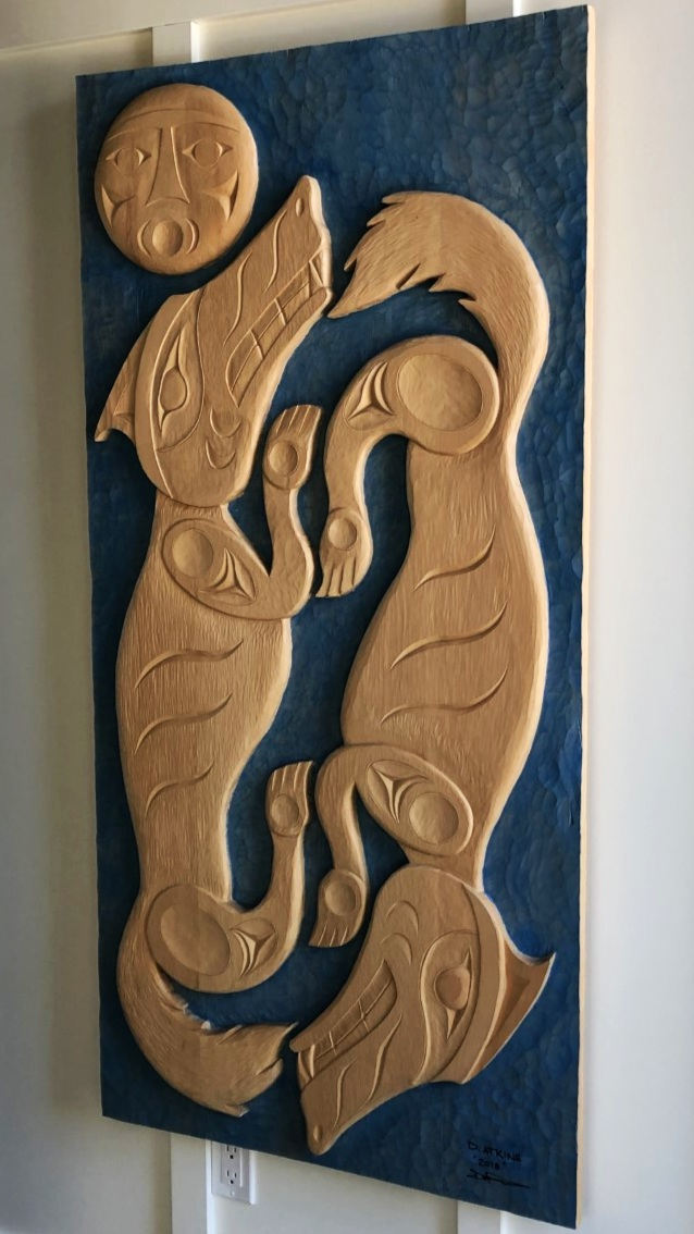 Wolves and Moon yellow cedar carving