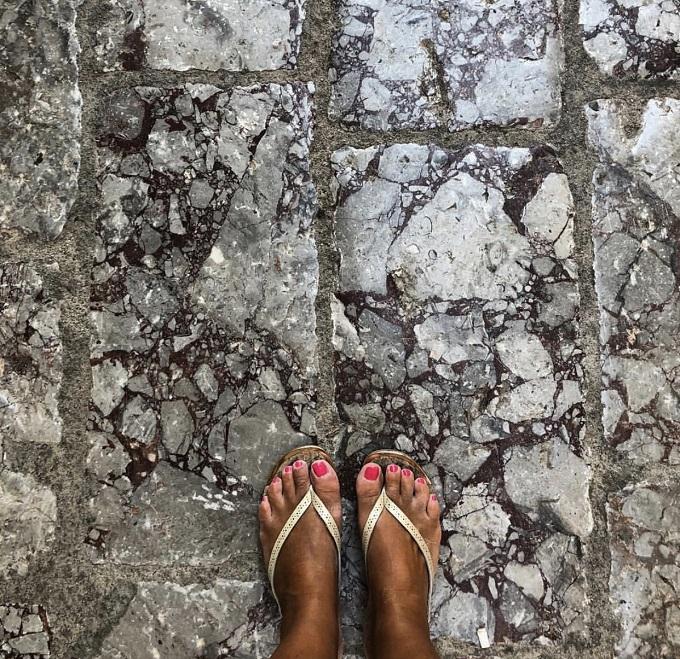 Stone paved street on the island of Hydra, Greece