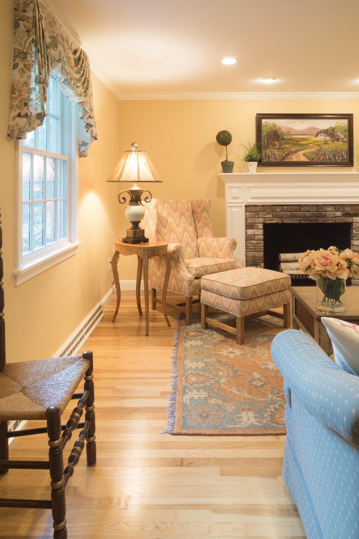 Custom window treatments transformed this living room.
