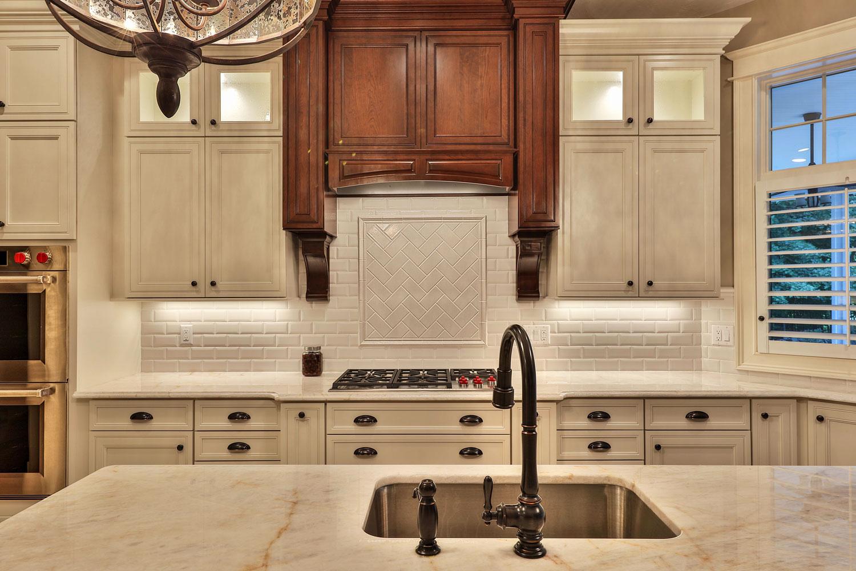 Kitchen Design with White Beveled Subway Tile Backsplash