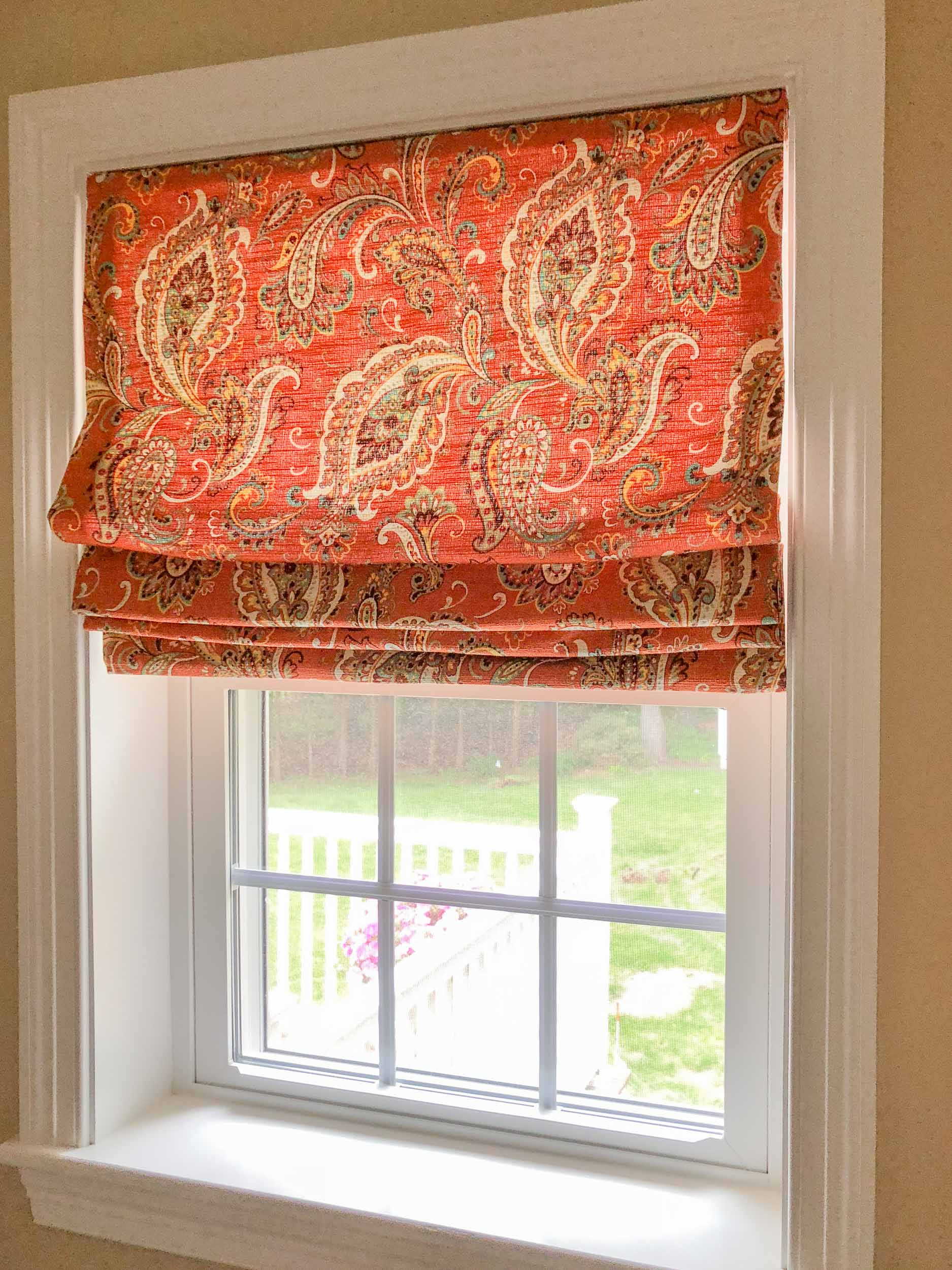 Custom bathroom window treatments.