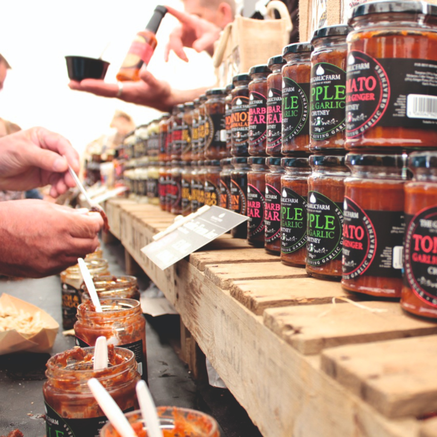 - Jars galore, try before you buy in the huge garlic marquee!