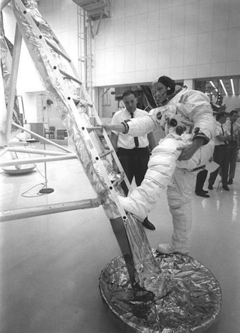 Neil Armstrong Practicing Climbing back up onto the Lunar Excursion Module 1969 MSFC.png