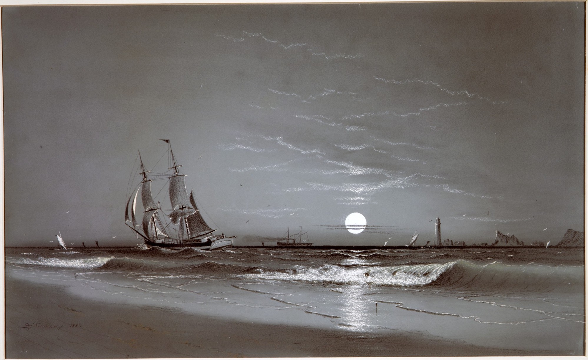 Entrance to Harbor—Moonlight