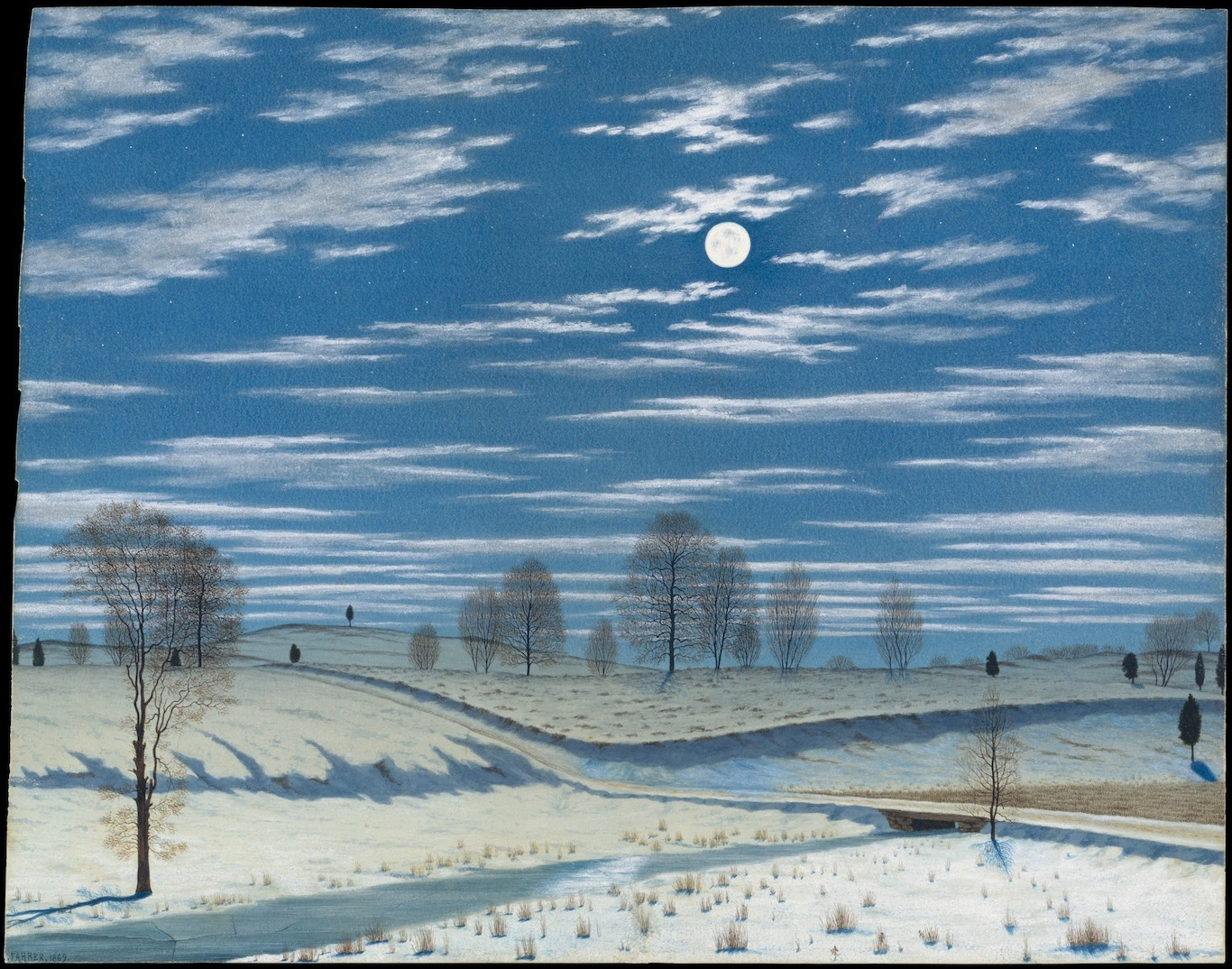 Winter Scene in Moonlight