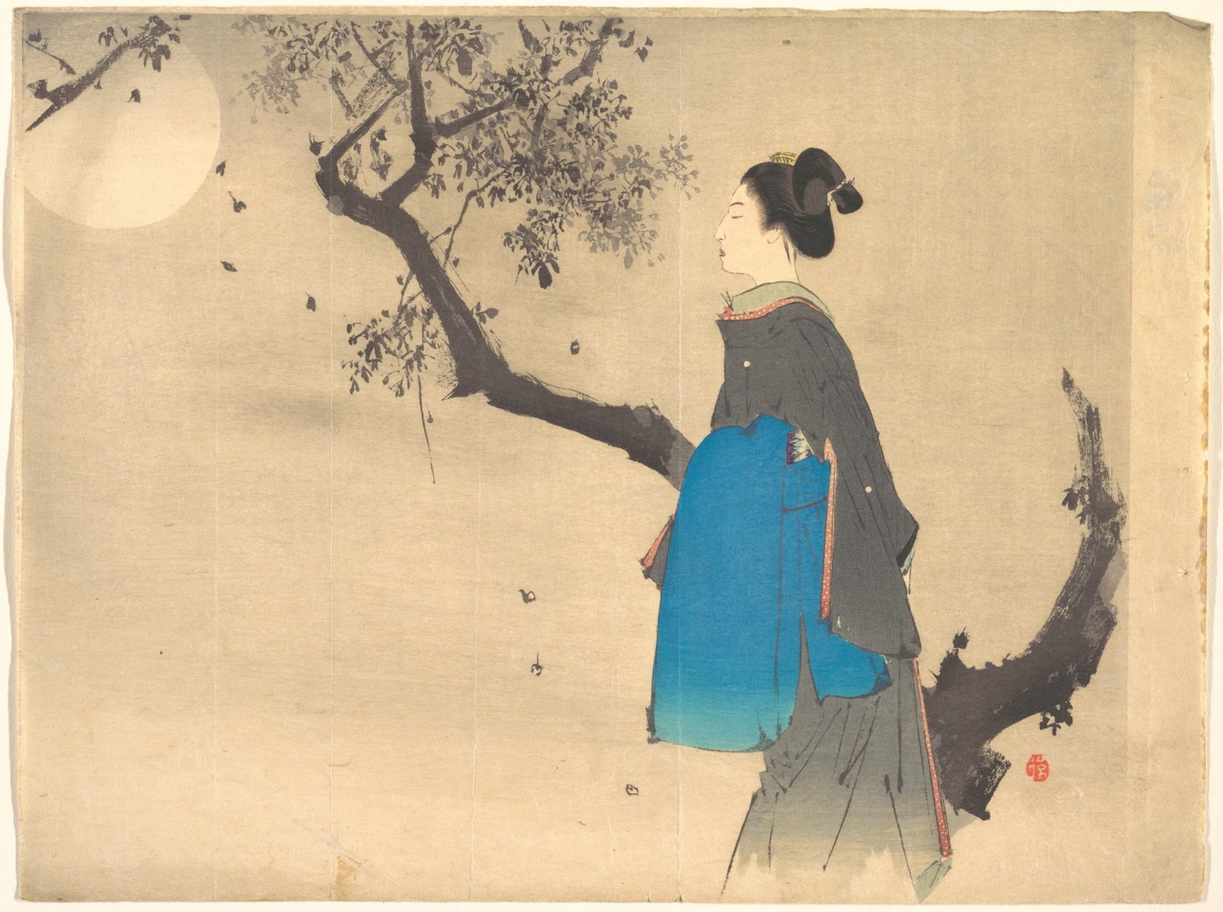 Profile View of a Woman Strolling in the Moonlight