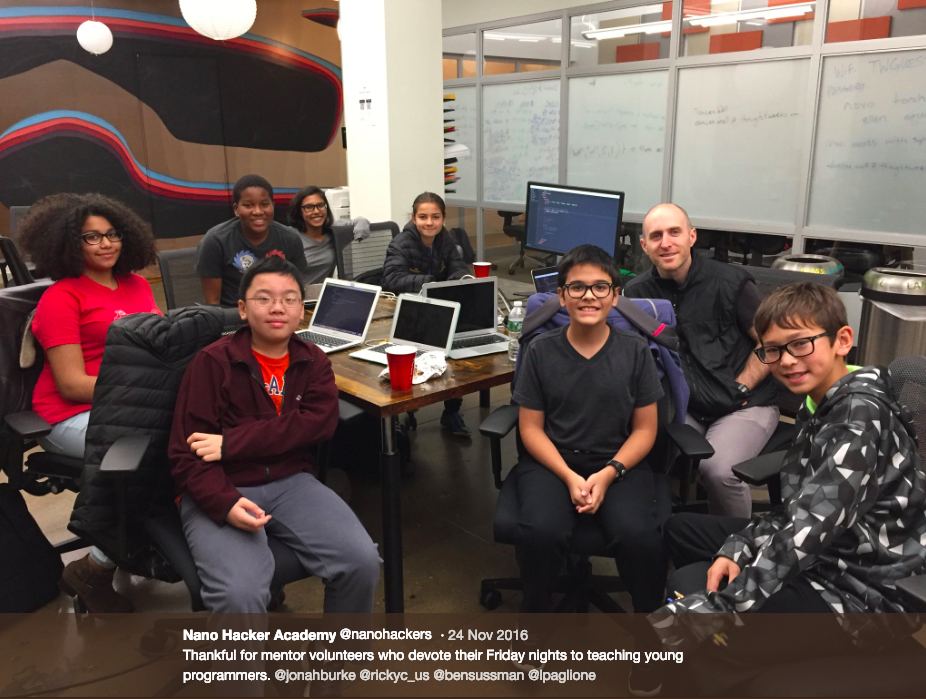 Javascript Teacher @ Nano Hacker Academy non-profit - Part-time evening Teacher for middle-school students learning Javascript and frameworksSeptember 2015-May 2018