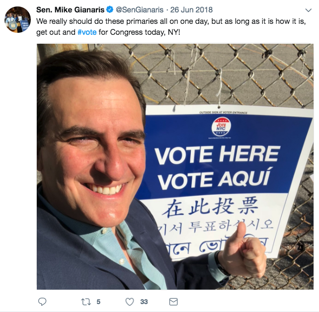 Senator Gianaris the day the candidate he endorsed, Joseph Crowley, lost to AOC.