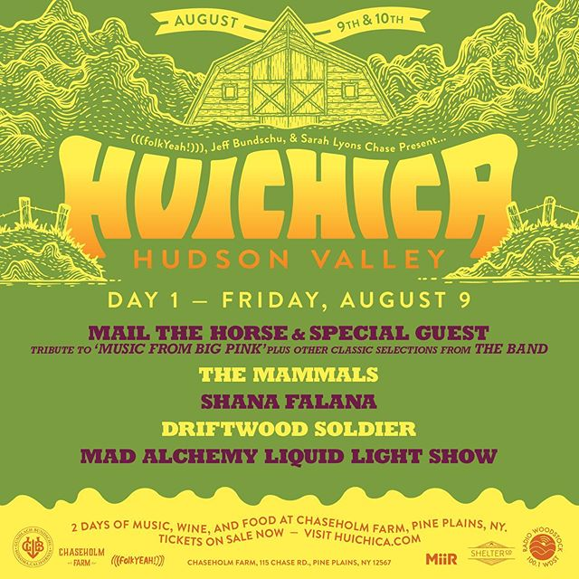 New York! Single day Huichica Hudson Valley lineups are out and tickets are now on sale! While we'd love to have you at the picturesque @chaseholmfarm for both Friday, August 9th and Saturday, August 10th we understand if you can only make one day! Friday tickets are only $25 and Saturday tickets are $75. Get yours today and join us for amazing music, mouthwatering local food and make memories with your family and friends that will last forever! . . . #Huichica #GunBunWine #FolkYeahEvents #musicfestival #winefest #localfood #concert #livemusic #lineup #familyfriendly #chaseholmfarm #hudsonvalley #ny #folkyeah #singledaytickets #festivallineup