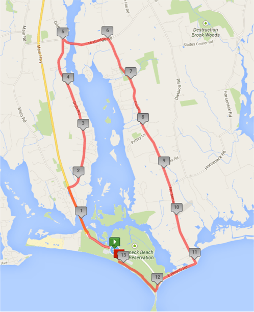 Half Marathon Course - The Horseneck Half will start and finish at beautiful DCR Horseneck Beach State Reservation