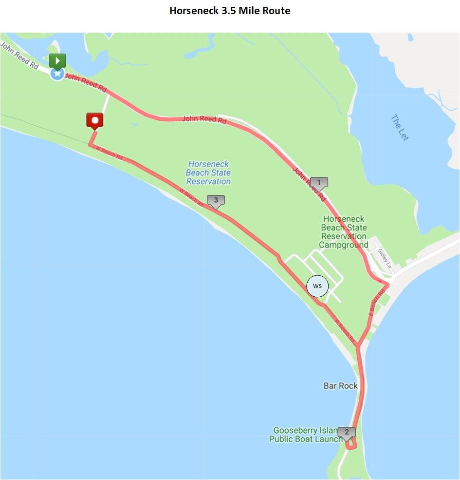 3.5M Course - There will be no shortage of stunning ocean views during the second half of this course featuring a three sides water view from Gooseberry Island and a full mile along the ocean as you return to Horseneck Beach.