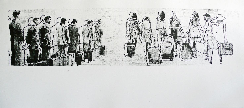 hombres, mujeres y maletas
