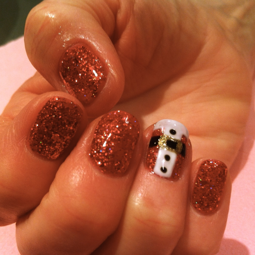 Santa belly nail art