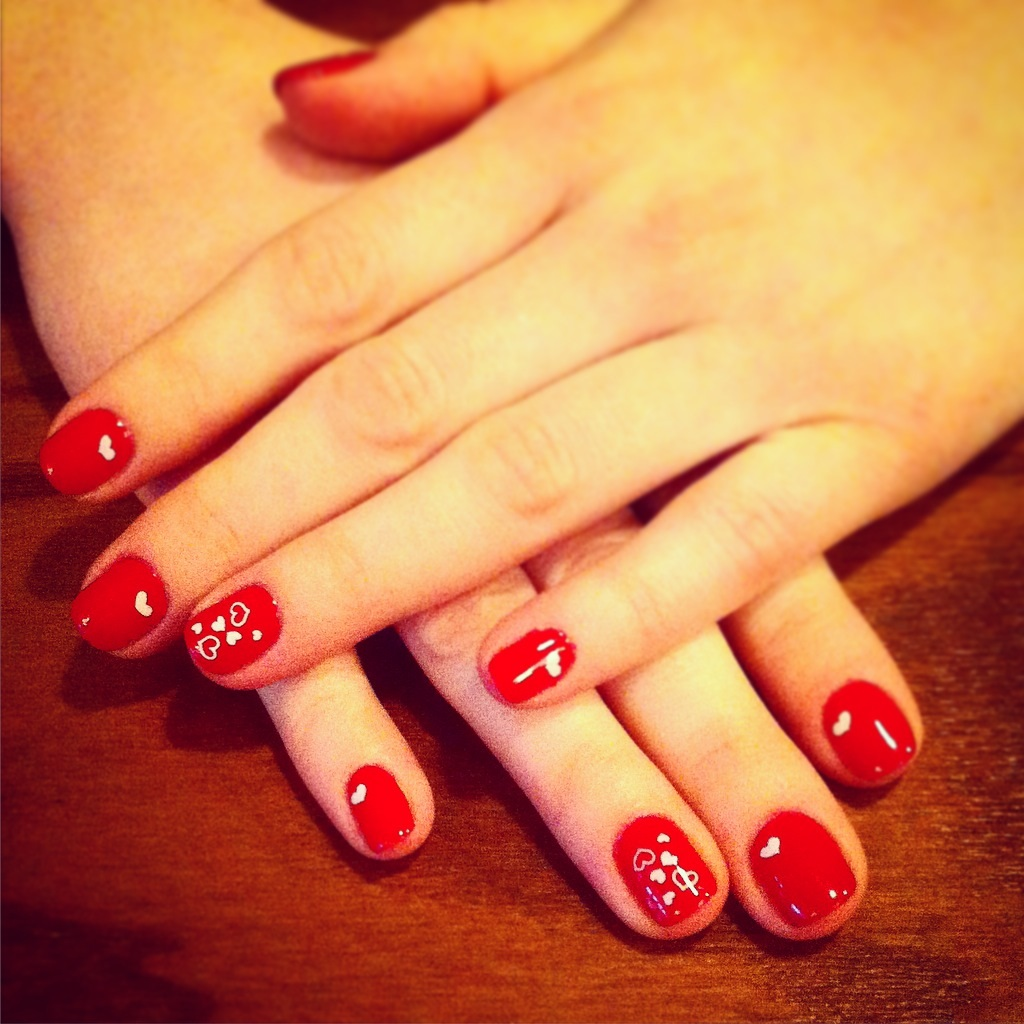 Royal Red valentine's nails