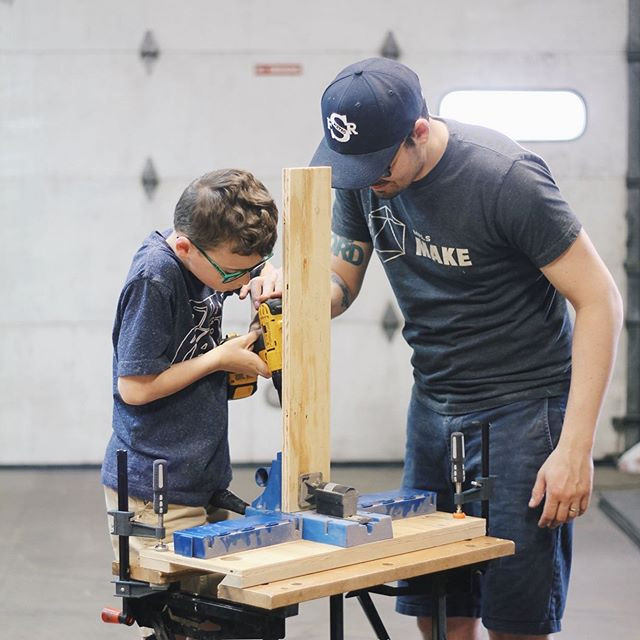 Give the Dad in your life the gift of their own shop! A space to be creative and make ideas come to life, and teach these skills to your little ones as well. I love bringing my boys here & seeing the pride and excitement of building something with their hands, and that irreplaceable quality time together. We are open today & tomorrow (and possibly Thursday) from 2-8! Come in and grab a gift card for Father's Day on Sunday 😊👏🏼🎁 . . . . #makerspace #makersgonnamake #toolshop #woodworking #fathersday #fatherhood #gfiscooler #supportsmallbusiness