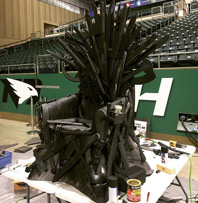 We've been busy at the shop the past few weeks foam smithing a TON of swords & weapons for this GoT iron throne! . Finished it up with the @spectraexperiences group at the @aleruscenter this week. Look for this bad boy at the grand forks #comiccon!  #craftyourfandom #foamsmith #propmaking #diy #makersgonnamake #makerspace #grandforks #gfiscooler #gameofthrones #ironthrone