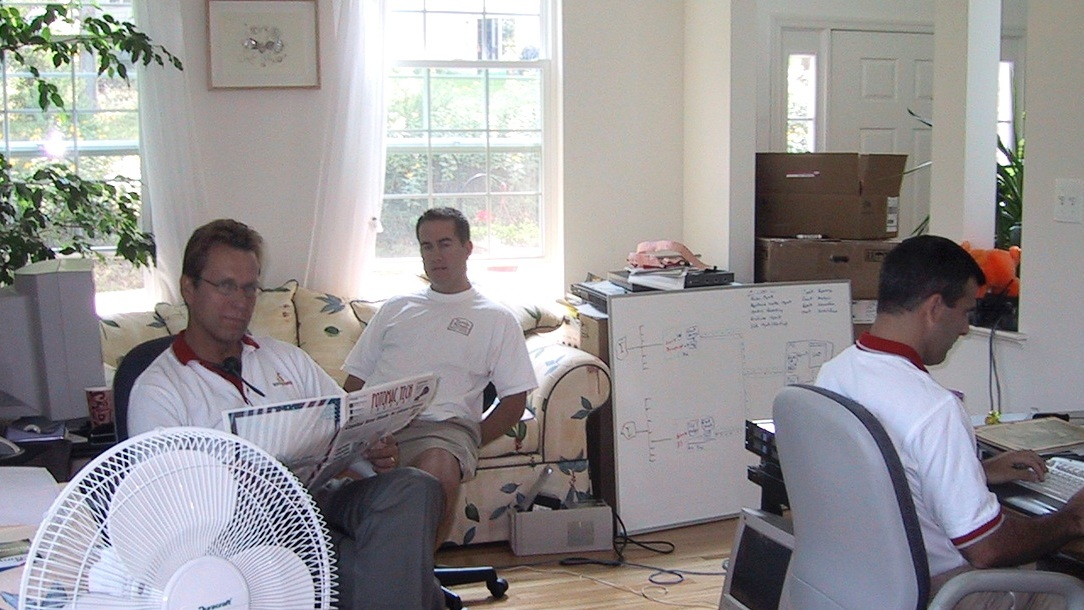 Sourcefire in September 2001 with our three employees at the time — John Pavlick, Bill Sento, and Mike Forostiak. This was a couple weeks prior to our first-customer ship of Sourcefire's first product!