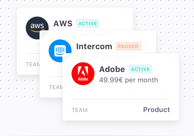 Effortless subscription management - Save time and money by managing all your subscriptions in one place. Pause or delete a card at any time, and stop paying for your past employees' subscriptions!