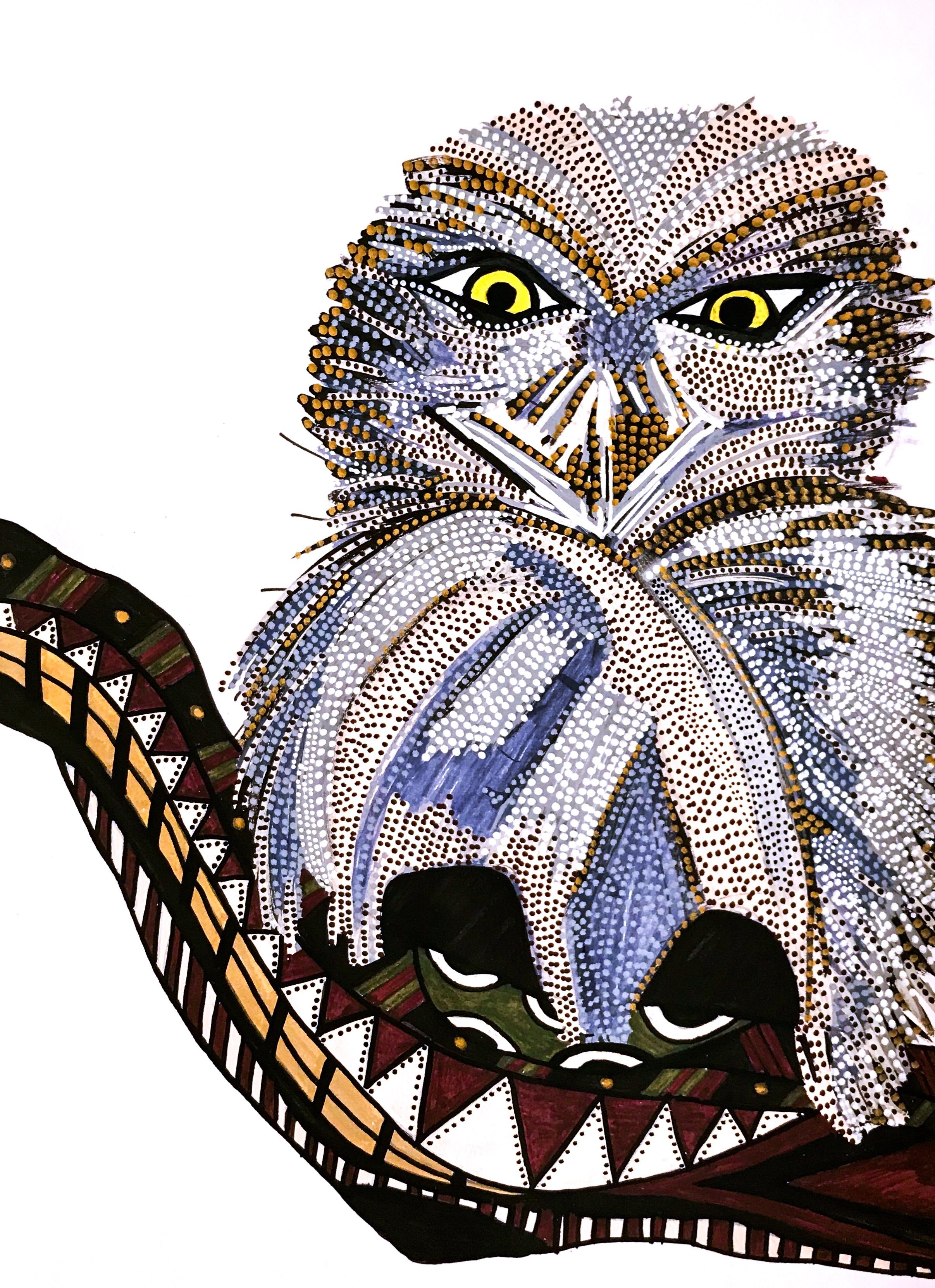 OWL - work on paper; acrylic paint pens21cm x 29.7cmDecember 2018