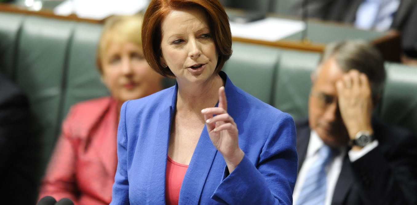 Prime Minister Julia Gillard delivers her speech decrying misogyny in parliament