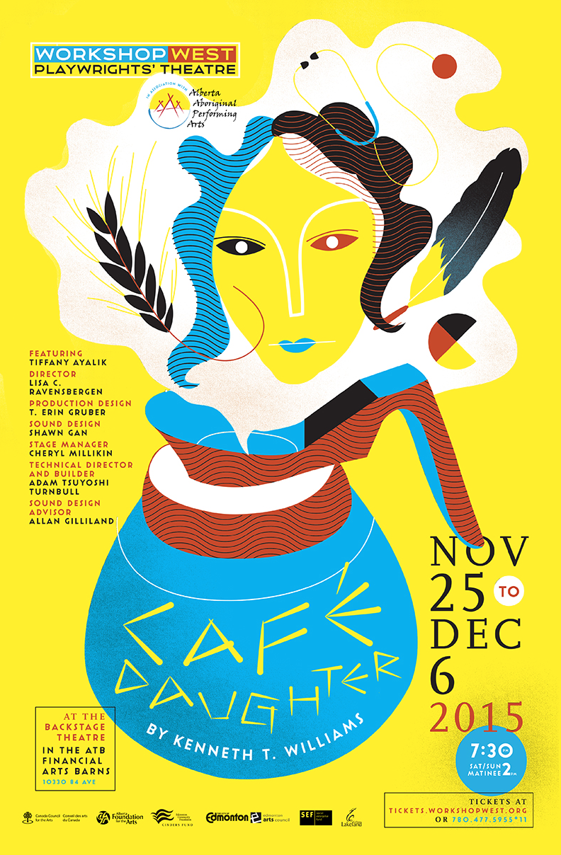 CAFÉ DAUGHTER  A poster and illustration for Café Daughter, inspired by the life of Chinese-Canadian and Cree Senator Lillian Eva Quan Dyck. Café Daughter tells an uplifting story of finding yourself and defining your place in the world against all odds.   Workshop West Playwrights' Theatre   2015
