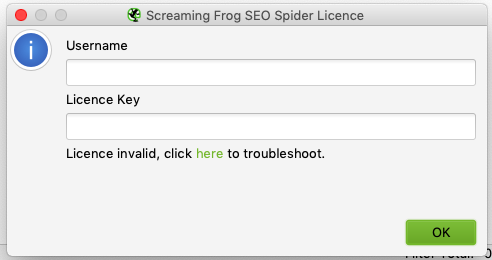 Screaming Frog License