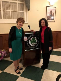 """Evelyn and friend Patricia at the Buffalo Irish Center where book launch celebrated """"The Nun and the Priest."""""""