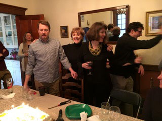 After the book launch, we celebrated Eric (left) and Marnie's birthday (3rd from left). Matthew is behind Marnie.