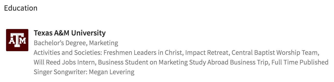 Education Example on LinkedIn