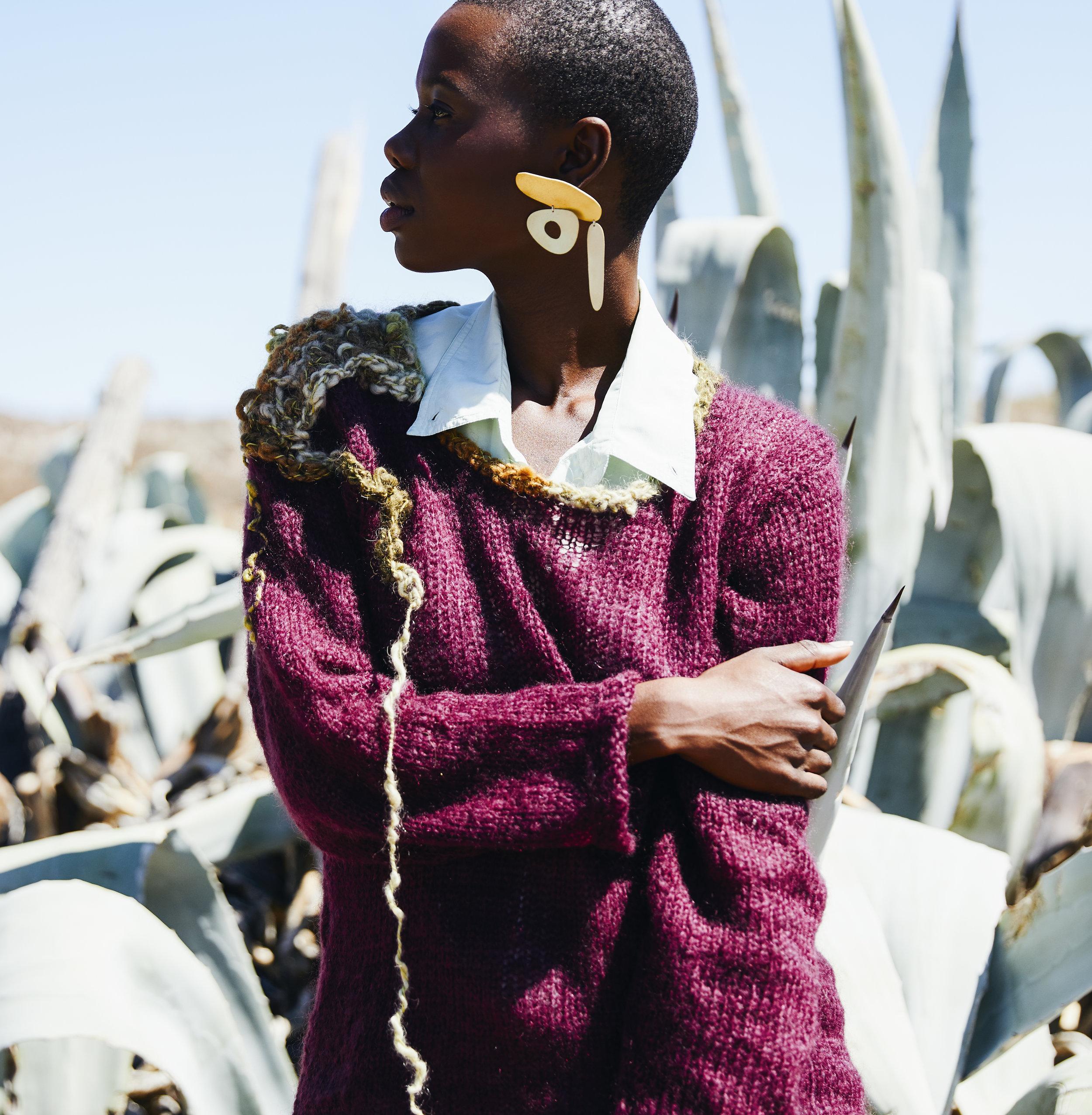 Melting Aloes - Aubergine crew neck with shoulder detail