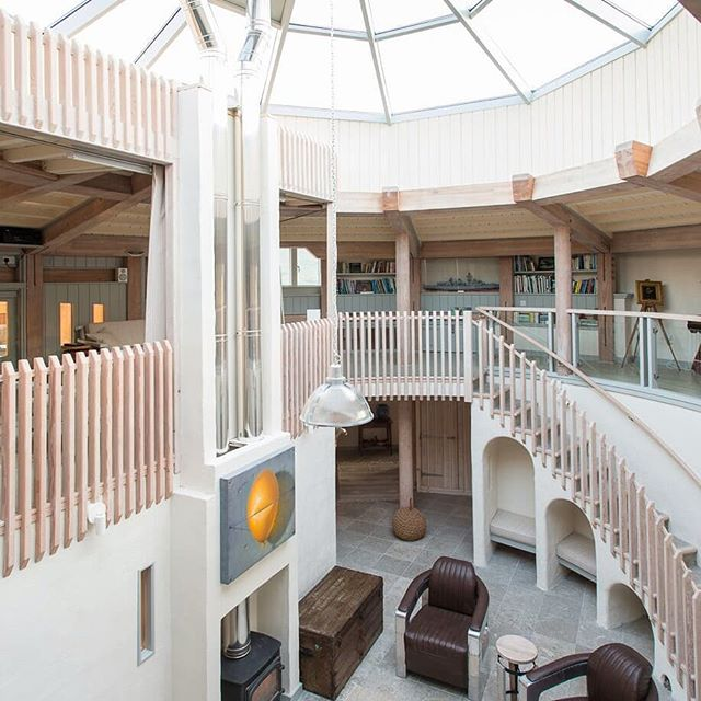 Elliptical atrium at Eagle Rock #scotland Watch Scotland's Home of the Year on BBC iPlayer!  #bbcscotland #scottishhighlands  #glulam #doulasfir #timberframe #atrium #rooflantern #staircase #curvedstairs #soundofmull #scottish #highlands #woodburner #home #interiordesign #sustainable #ecohouse #visitscotland #design #roderickjames #architect #roderickjamesarchitects