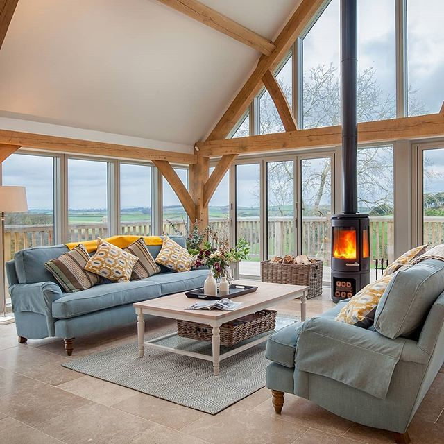 Beautiful Gitcombe Retreat is complete!  Another fantastic build by @alechoareandson. Featuring #oakframe by@carpenter_oak and #bathroom suites by@sapphire_spaces.  You can now spend your holidays here @gitcombe!  Photo credit:@mattjheritage  #photography #holidaylet #devon #rent #woodburner #livingroom #sofa #coffeetable #diningroom #openplan #luxurytravel #adventure #devonlife #bedroom  #interiordesign #retreat #oakframing #timberframe #timbercladding #larch #architecture #design #roderickjames #architect #roderickjamesarchitects