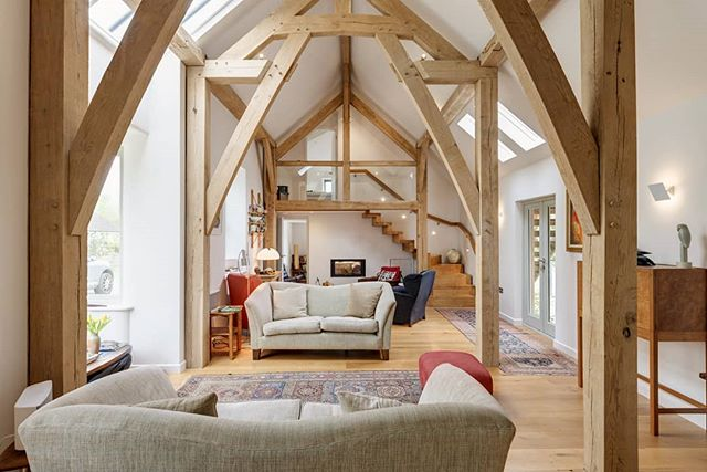 Newly completed renovation in West Devon! Fantastic attention to detail by Jonathan Case Builders.  Photo: @richarddownerphotography #devon #renovation #oakframe #transformation #oaktruss #timberframe #oakframing #livingroom #interiordesign #sittingroom #staircase #floatingstairs #devonlife #homebuildingawards #architecture #architectureporn #retreat #design #roderickjames #architect #roderickjamesarchitects