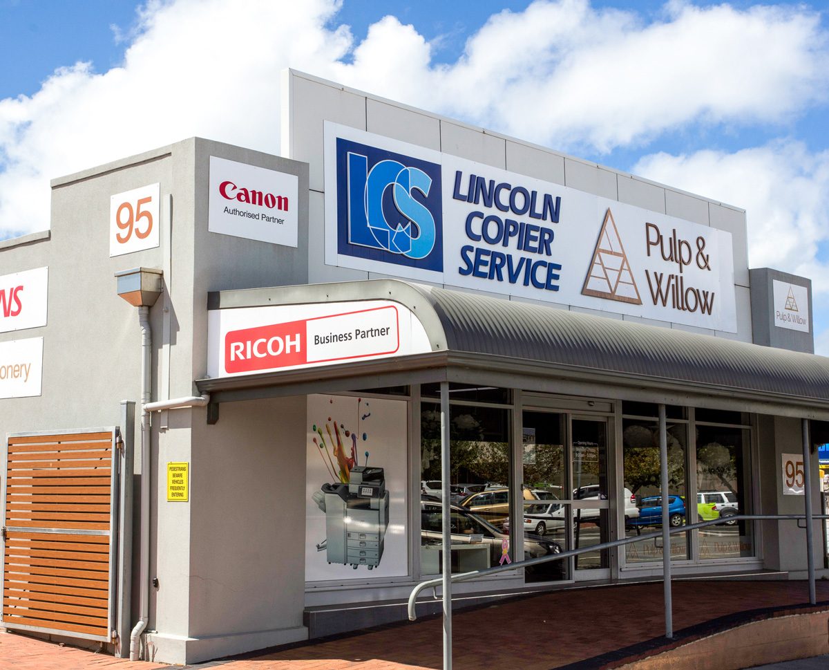 Our Shop - Lincoln Copier Service is located at 95 Liverpool Street in the beautiful Eyre Peninsula town of Port Lincoln. We have ample customer parking directly in front of the shop which we share with our (sister) store Pulp & Willow.
