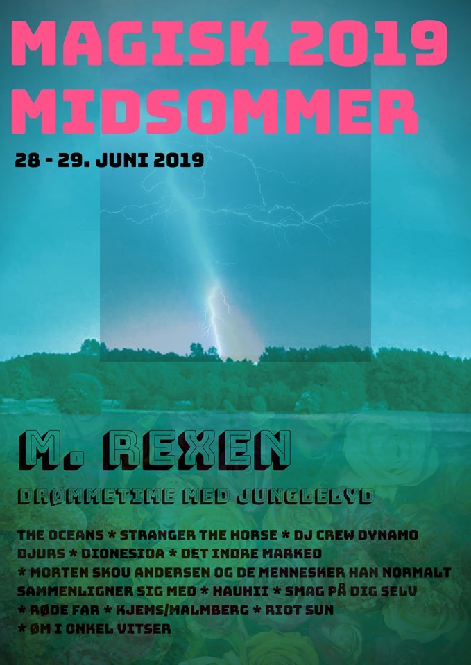 June 29th, Nørager - with M. Rexen, Junglelyd etc.This festival has been one of the best kept secrets in Danish festival culture - mainly due to it remaining pretty secret about where the festival is held each year, and participation almost exclusivly by invitation only.BUT - if you are lucky enough to find the festival, you will not only get to hear Dionesia, but also M. Rexens last show before he takes on the Roskilde Festival!