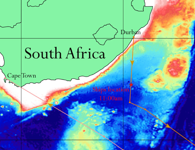 Map showing our location as of 11:00am this morning and our projected ship tracks to and from our survey sites. Red colours indicate shallow seafloor and blue colours deeper sea floor (>4550m). Later in the day, we exited the EEZ and started collecting data.
