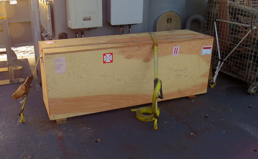 The Scared Heart Star of the Seas in her shipping crate; awaiting unpacking on the deck of the R/V Thomas G Thompson