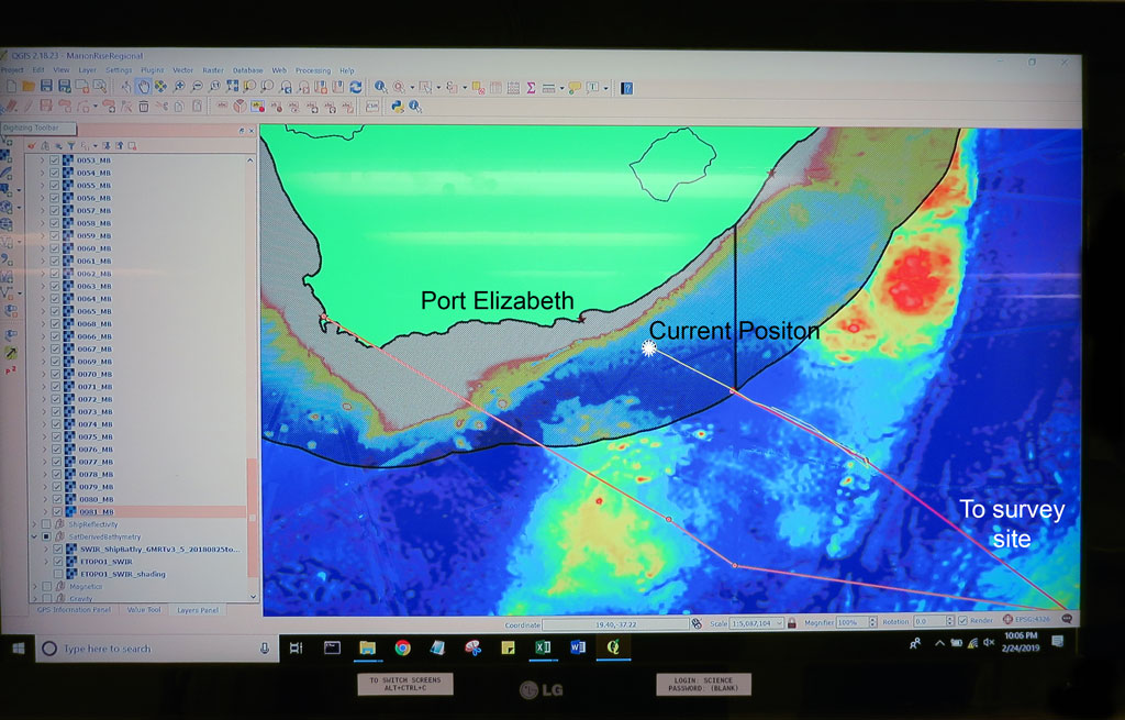 Lab display showing the current positon of the RV Thomas G Thompson as we head to Port Elizabeth.
