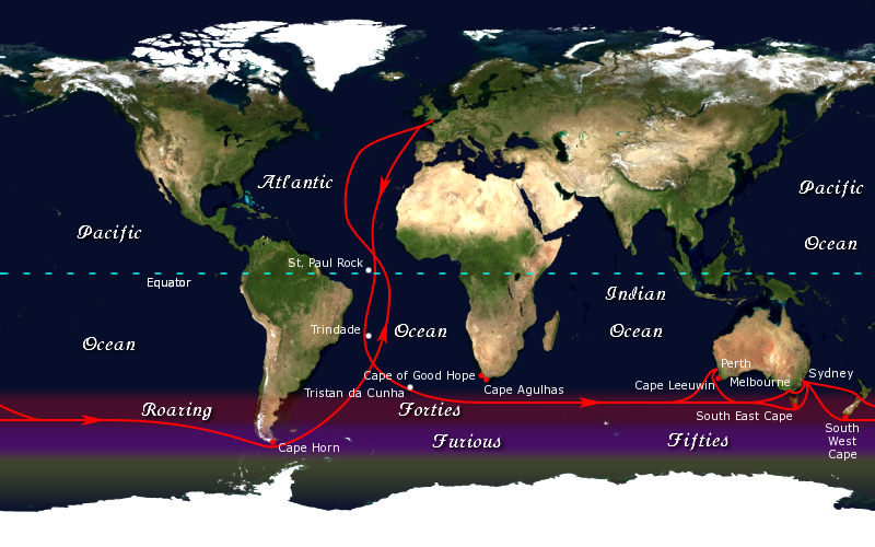 This is how sailors used to take advantage of the Roaring Forties to get from England to Australia and back by going around the world. Cape Horn down in the Furious Fifties was the most dangerous part.