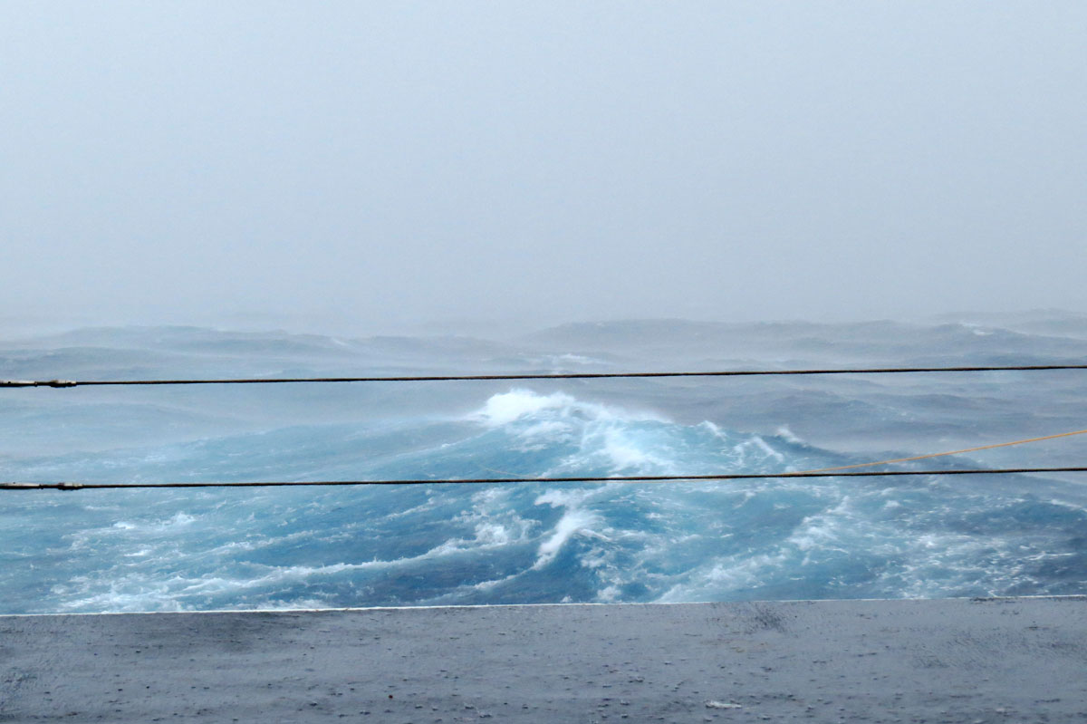 View from the stern of the ship- 3pm today! wind speeds up to 70 knts.