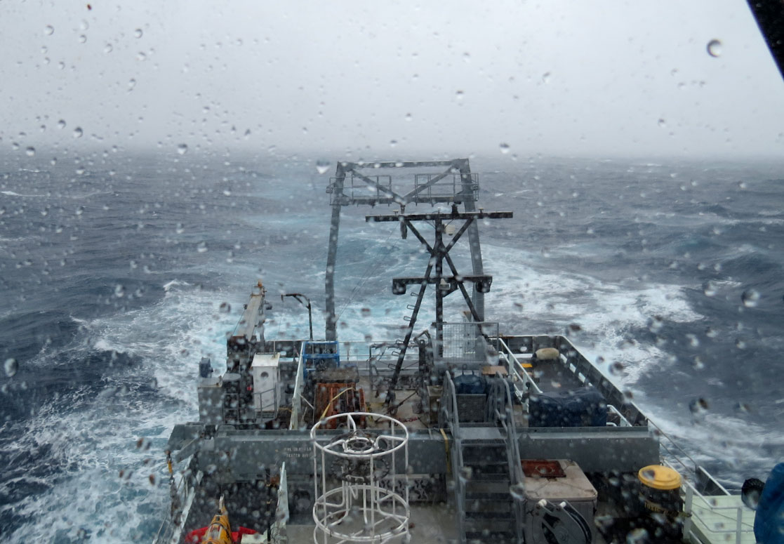 View of the stern from the Bridge of the of the R/V Thomas G. Thompson in the storm.